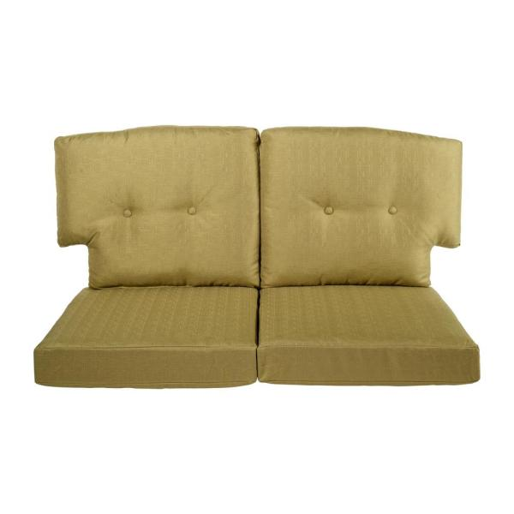 Hampton Bay Charlottetown 23 5 In X 26 5 In 4 Piece Outdoor Loveseat Cushion Set In Green Bean 89 55603 The Home Depot
