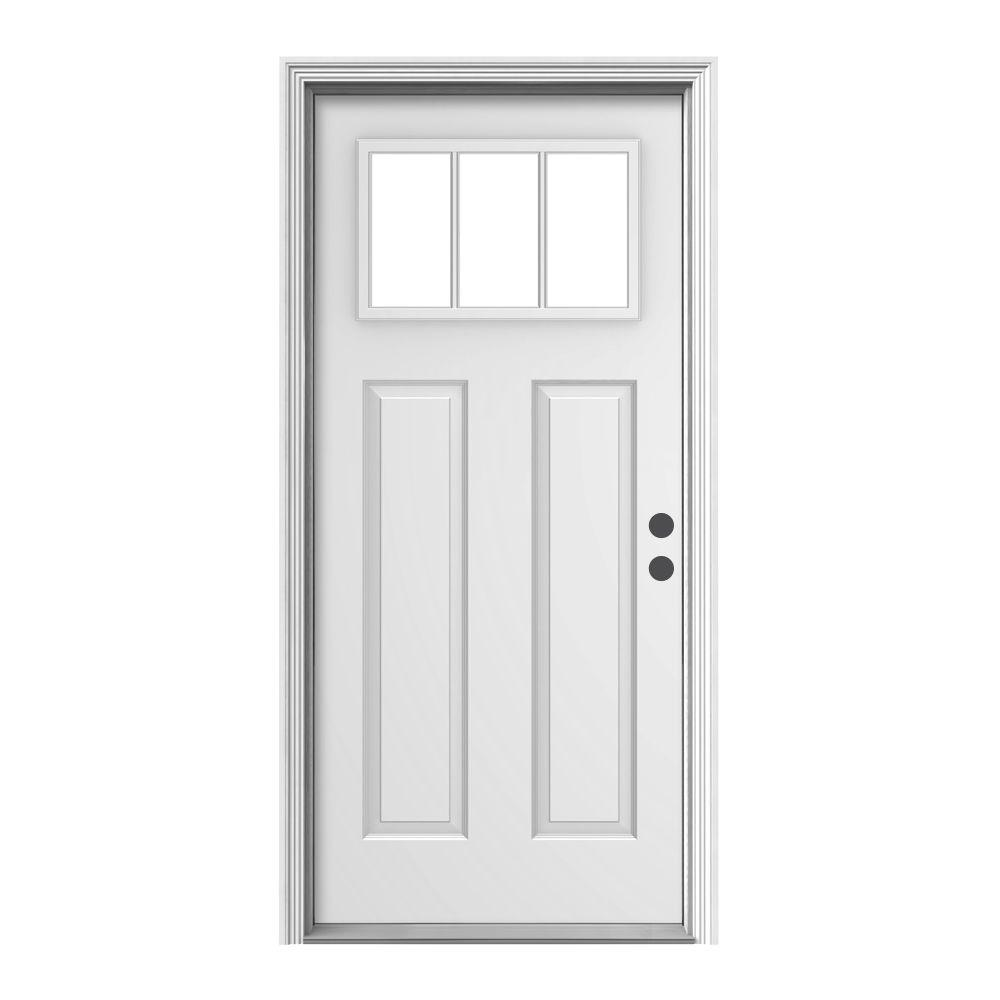 white craftsman front door. 3 lite craftsman primed steel prehung white front door t