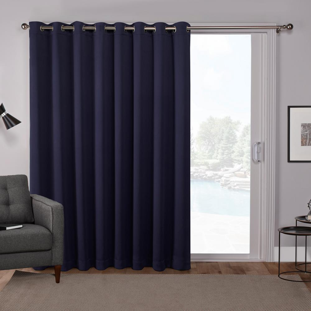 Sateen Patio Peacoat Blue Blackout Grommet Top Wide Window Curtain