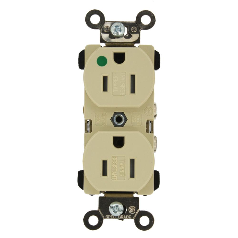 Leviton 15 Amp Co Alr Duplex Outlet Ivory R51 12650 00i The Home Wiring With Switch Switches Hospital Grade Extra Heavy Duty Tamper Resistant Self Grounding