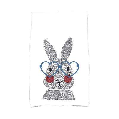16 in. x 25 in. Blue What's Up Bunny Holiday Animal Print Kitchen Towel