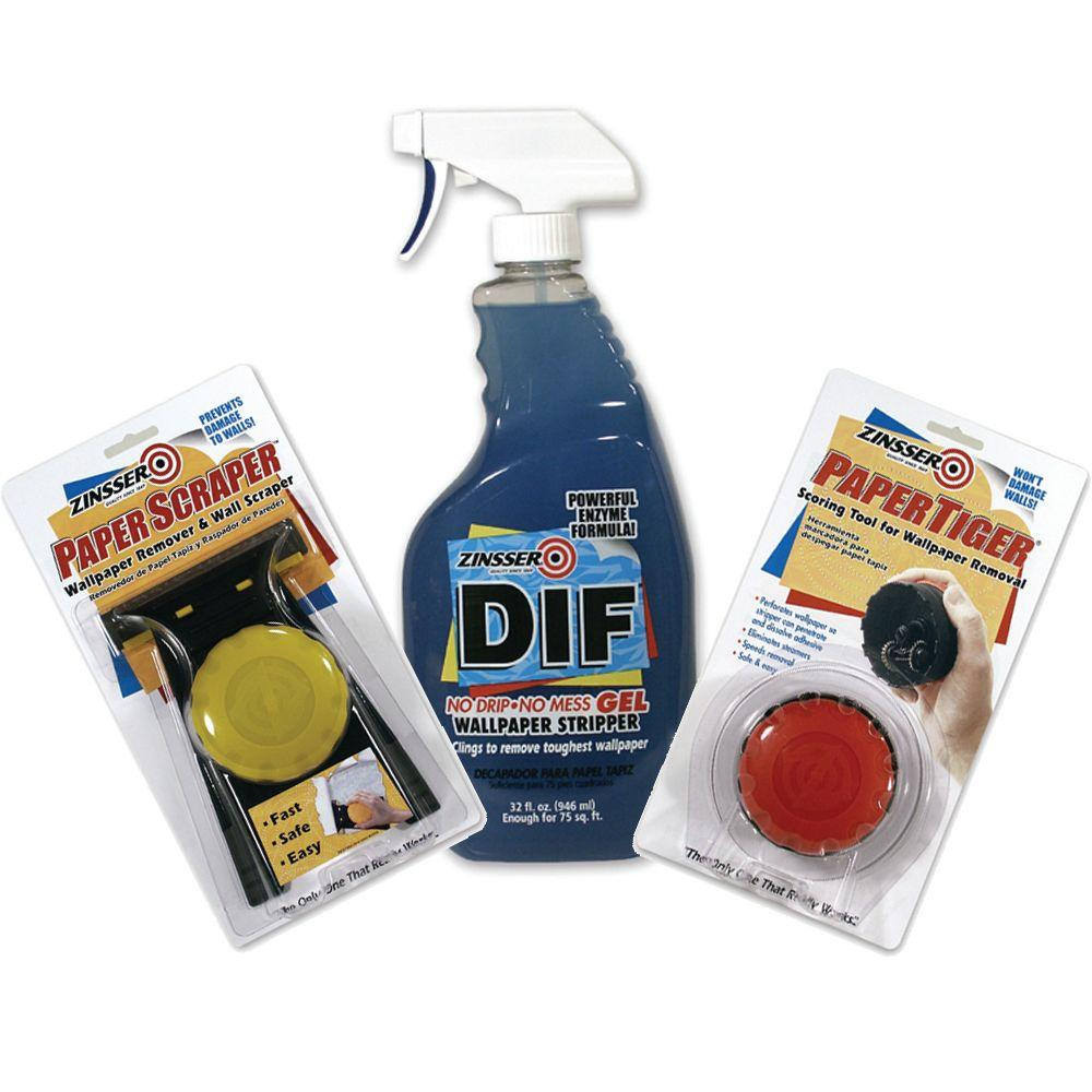 Zinsser DIF Wallpaper Remover Kit with 32 oz. Ready-To-Use Gel Spray, Paper Scraper and Paper Tiger-DISCONTINUED