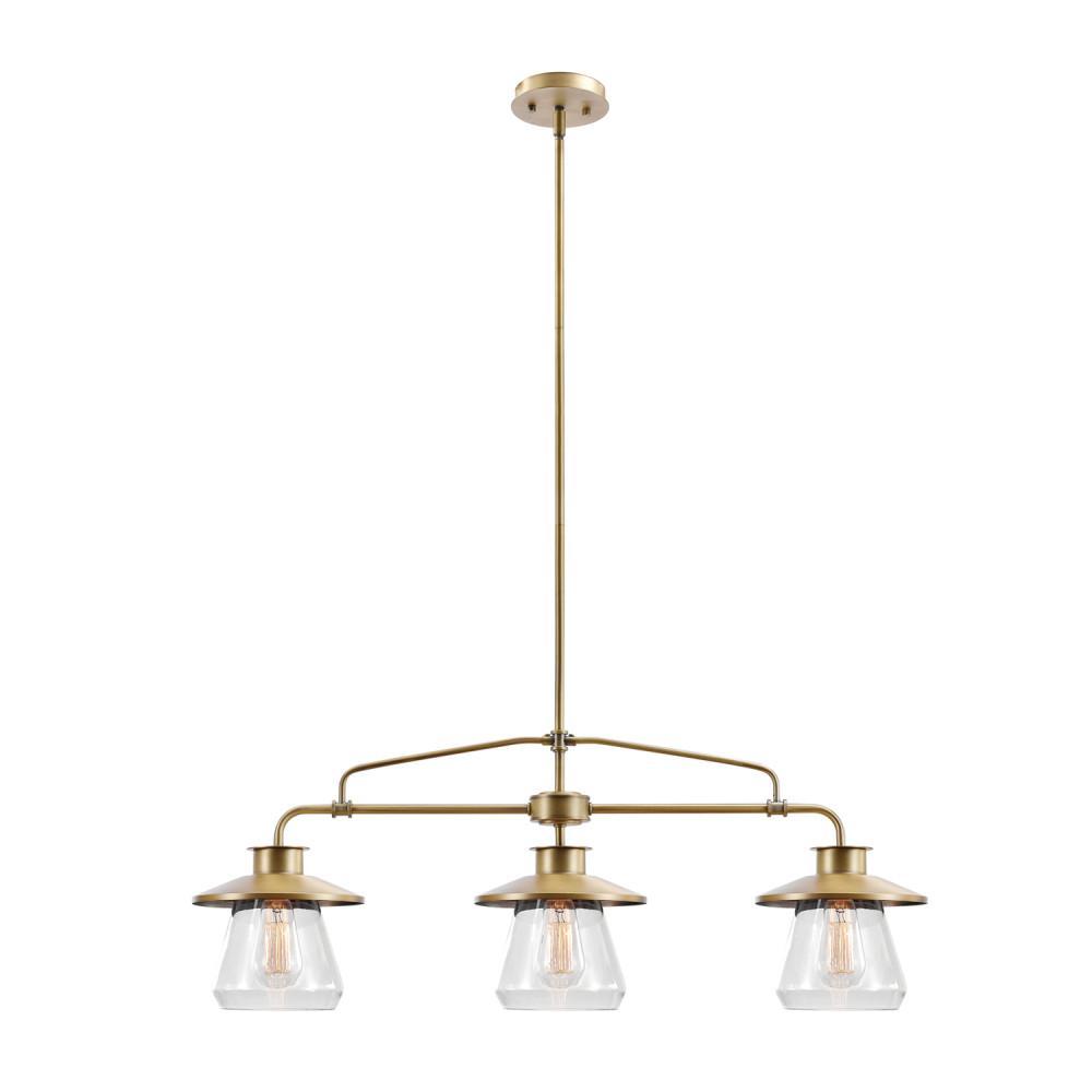 Globe Electric Nate 3-Light Brass Pendant