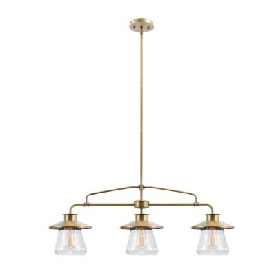 Nate 3-Light Brass Pendant with Clear Glass Shades