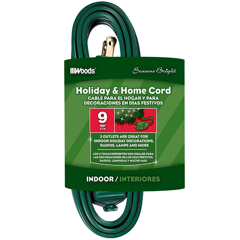 9 ft. 3-Outlet Indoor Extension Cords, Green