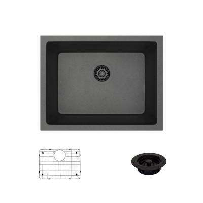 Dual-Mount Composite Granite 21-5/8 in. Single Bowl Kitchen Sink in Carbon