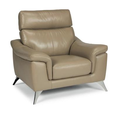 Moderno Beige Leather Contemporary Upholstered Chair
