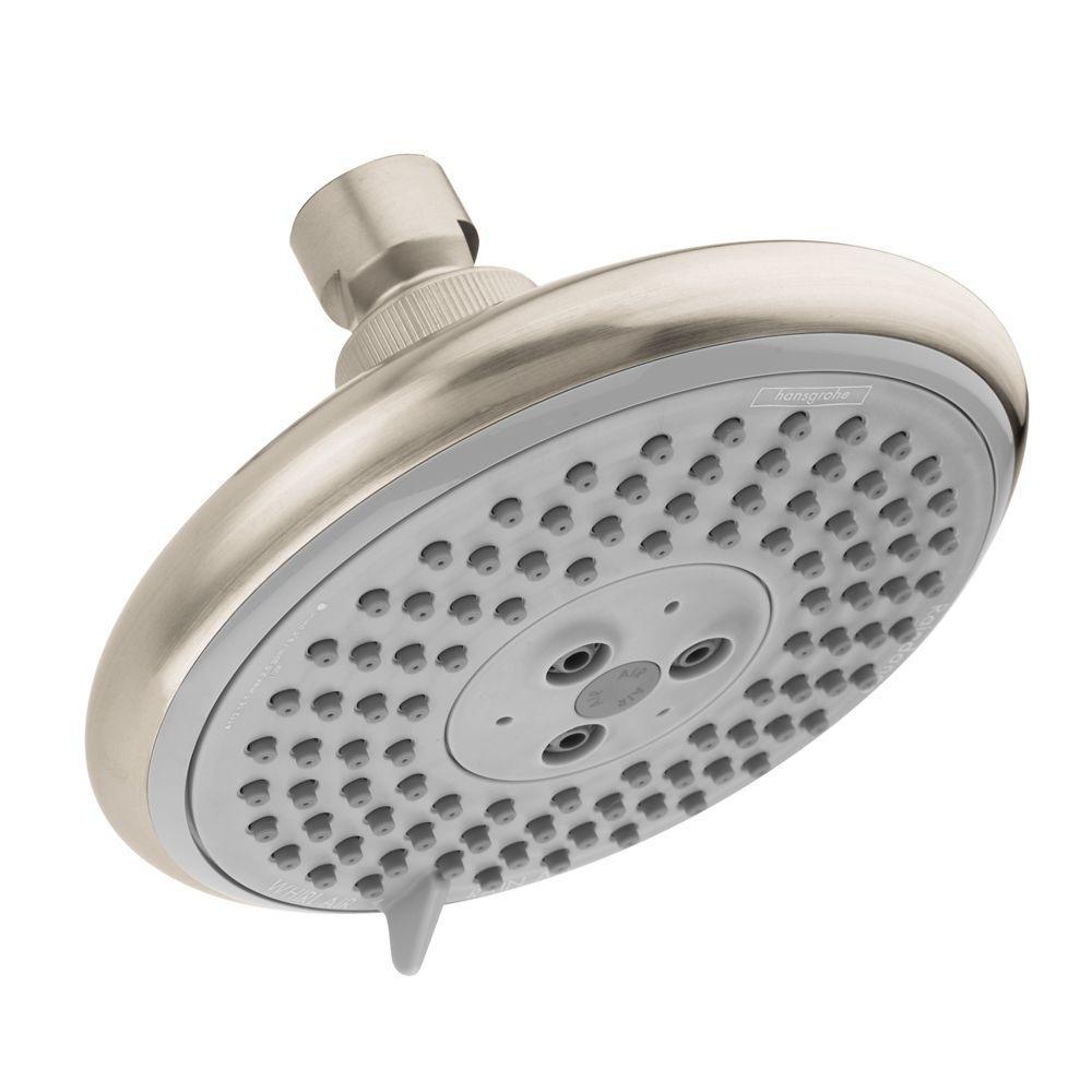 Raindance E 120 3-Spray 5 in. Air Showerhead in Brushed Nickel