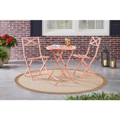 Mix and Match Peony Orange Round Steel Folding Outdoor Bistro Table