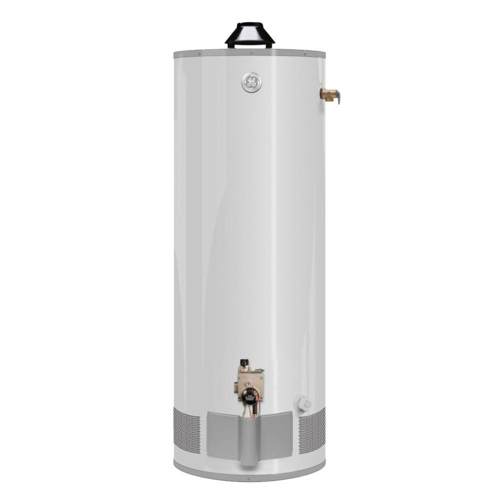 Ge 40 Gal Tall 9 Year 38 000 Btu Natural Gas Water Heater Pg40t09avh00 The Home Depot