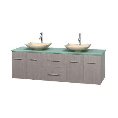 Centra 72 in. Double Vanity in Gray Oak with Glass Vanity Top in Green and Sinks