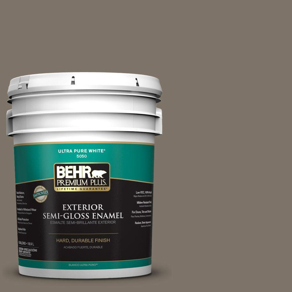 BEHR Premium Plus 5-gal. #HDC-NT-05 Aged Olive Semi-Gloss Enamel Exterior Paint