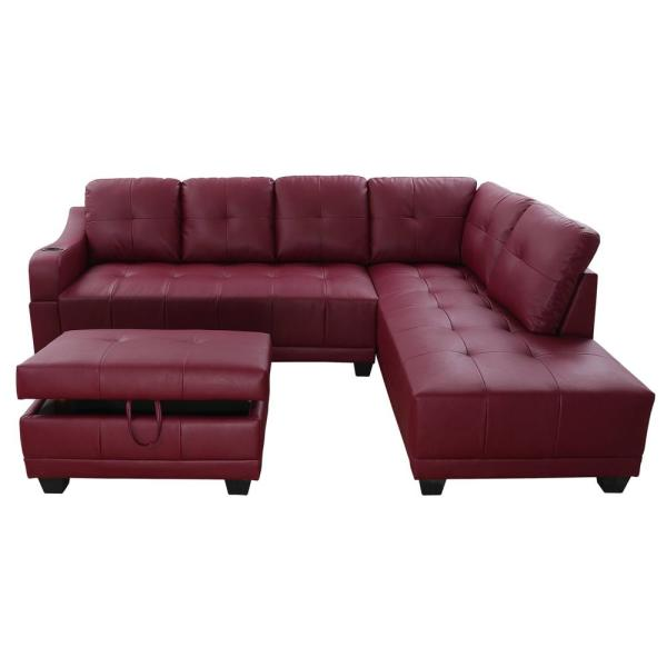 Star Home Living Bill 3 Piece Red Faux Leather 3 Seater L Shaped Left Facing Sectional Sofa With Ottoman Sh7303a The Home Depot