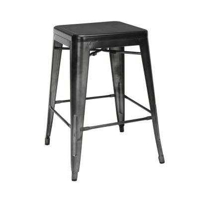 161 Collection Industrial Modern 4-Pack Fully Assembled 26 in. Gunmetal Backless Metal Indoor/Outdoor Bar Stools
