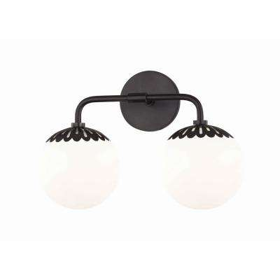 Paige 2-Light Old Bronze Bath Light with Opal Glossy Glass Shade