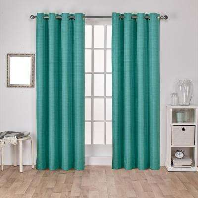 Raw Silk 54 in. W x 96 in. L Woven Blackout Grommet Top Curtain Panel in Teal (2 Panels)