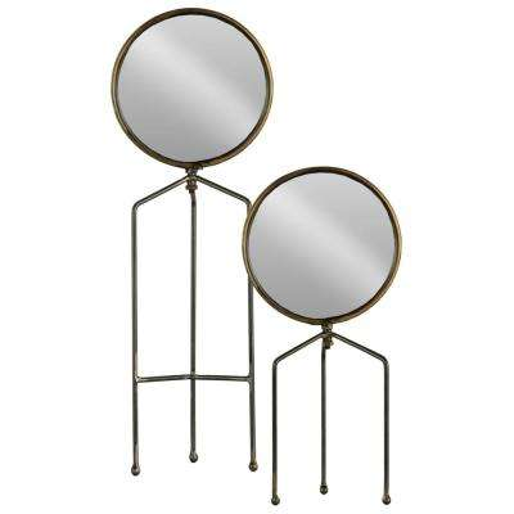 Round Gray Metallic Tabletop Mirror