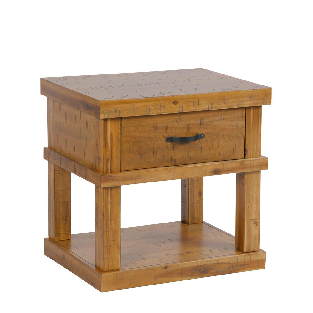 American Furniture Classics Solid Acacia Wood Distressed Toffee End Table  Or Nightstand With 1 Drawer