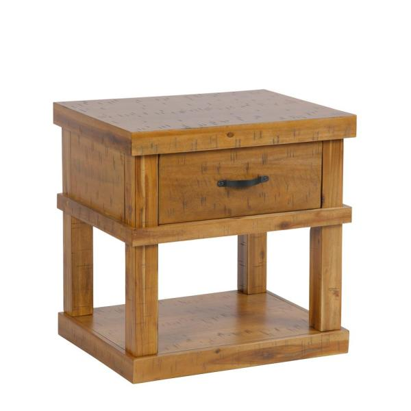 American Furniture Clics Solid Acacia Wood Distressed Toffee End