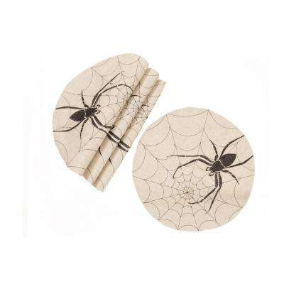 0.1 in. H x 16 in. W Halloween Creepy Spiders Double Layer Placemats in Natural (Set of 4)