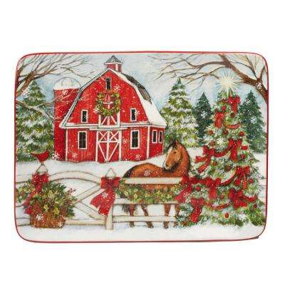 Christmas on the Farm by Susan Winget 16 in. Rectangular Platter