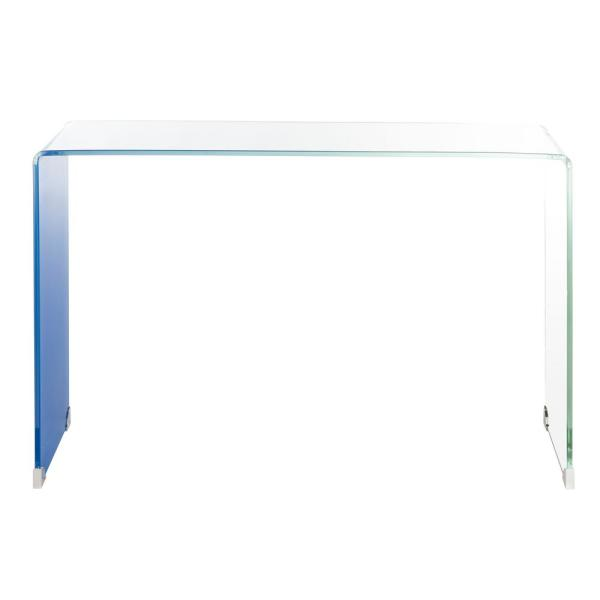 Crysta 44 in. Clear/Blue Rectangle Glass Console Table