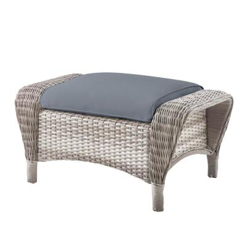 Beacon Park Gray Wicker Outdoor Patio Ottoman with CushionGuard Steel Blue Cushions