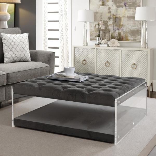 Inspired Home Fleur Grey Velvet Ottoman Cocktail Table with Button Tufted