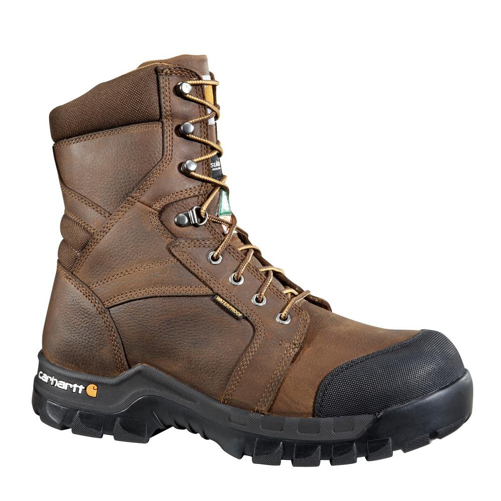 537e93de3bb Carhartt Puncture Resistant Men's 11.5W Brown Leather Rugged Flex  Waterproof Insulated Composite Safety Toe 8 in. Work Boot