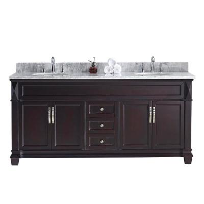 Victoria 72 in. W Bath Vanity in Espresso with Marble Vanity Top in White with Round Basin