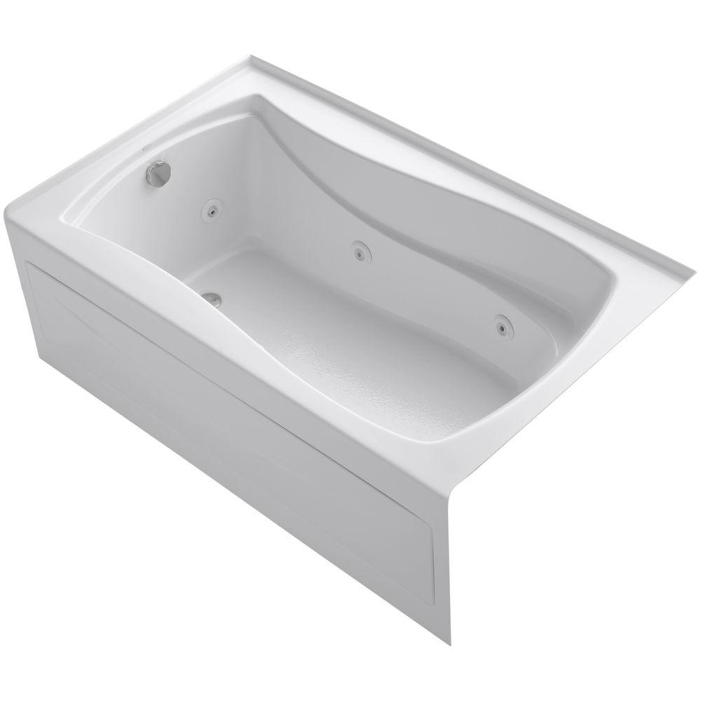 KOHLER Mariposa 5 ft. Acrylic Left Drain Hourglass Rectangular Alcove Whirlpool Bathtub in White