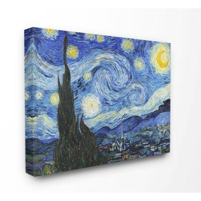"30 in. x 40 in. ""Van Gogh Starry Night Post Impressionist Painting"" by Vincent Van Gogh Canvas Wall Art"