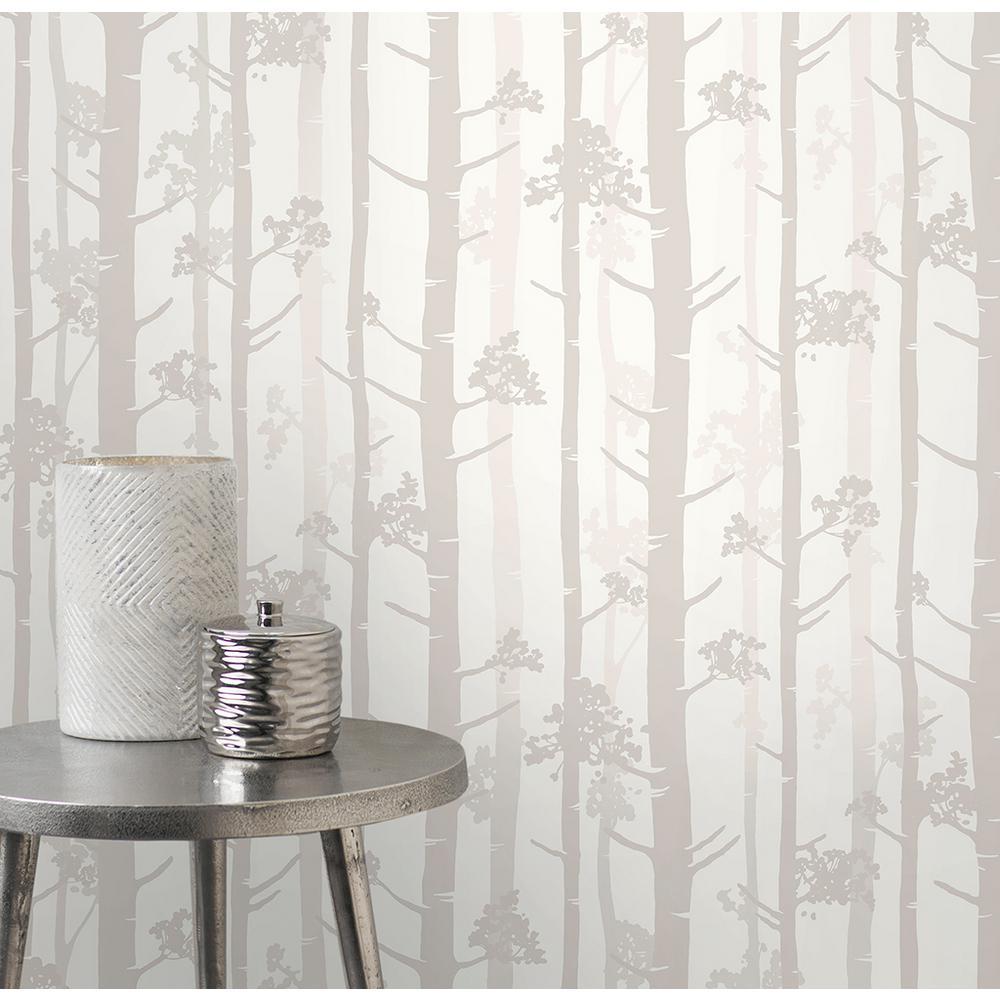 56.4 sq. ft. Sydow Beige Birch Tree Wallpaper