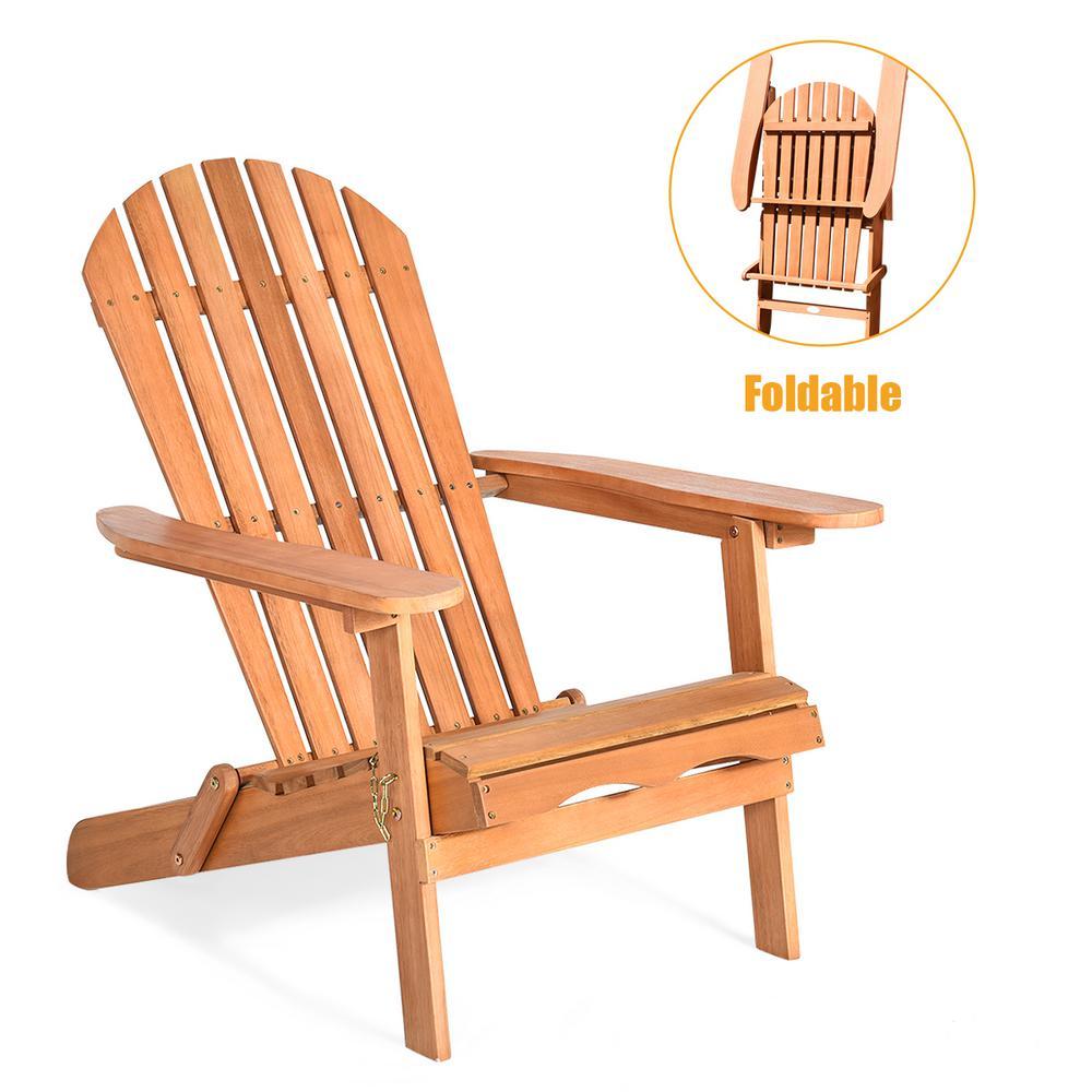 Foldable Eucalyptus Wood Patio Outdoor Lounge Chair