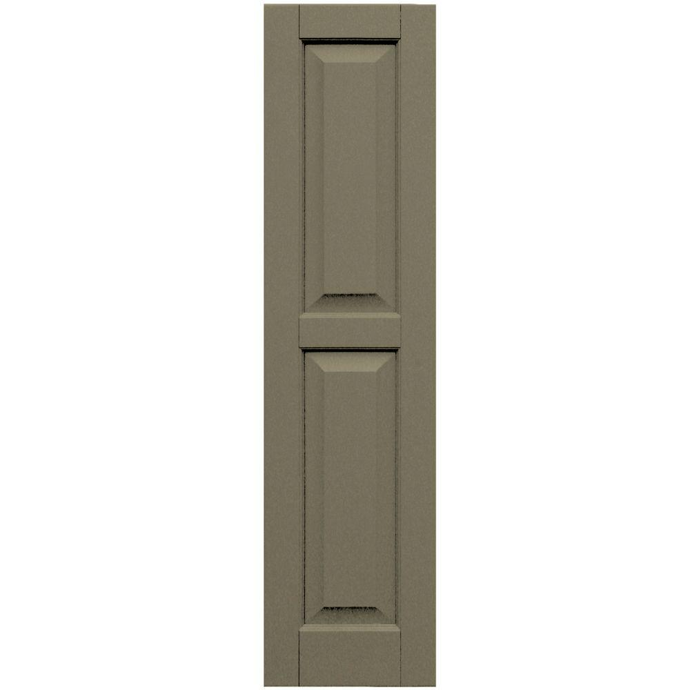 Winworks Wood Composite 12 in. x 48 in. Raised Panel Shutters Pair #660 Weathered Shingle