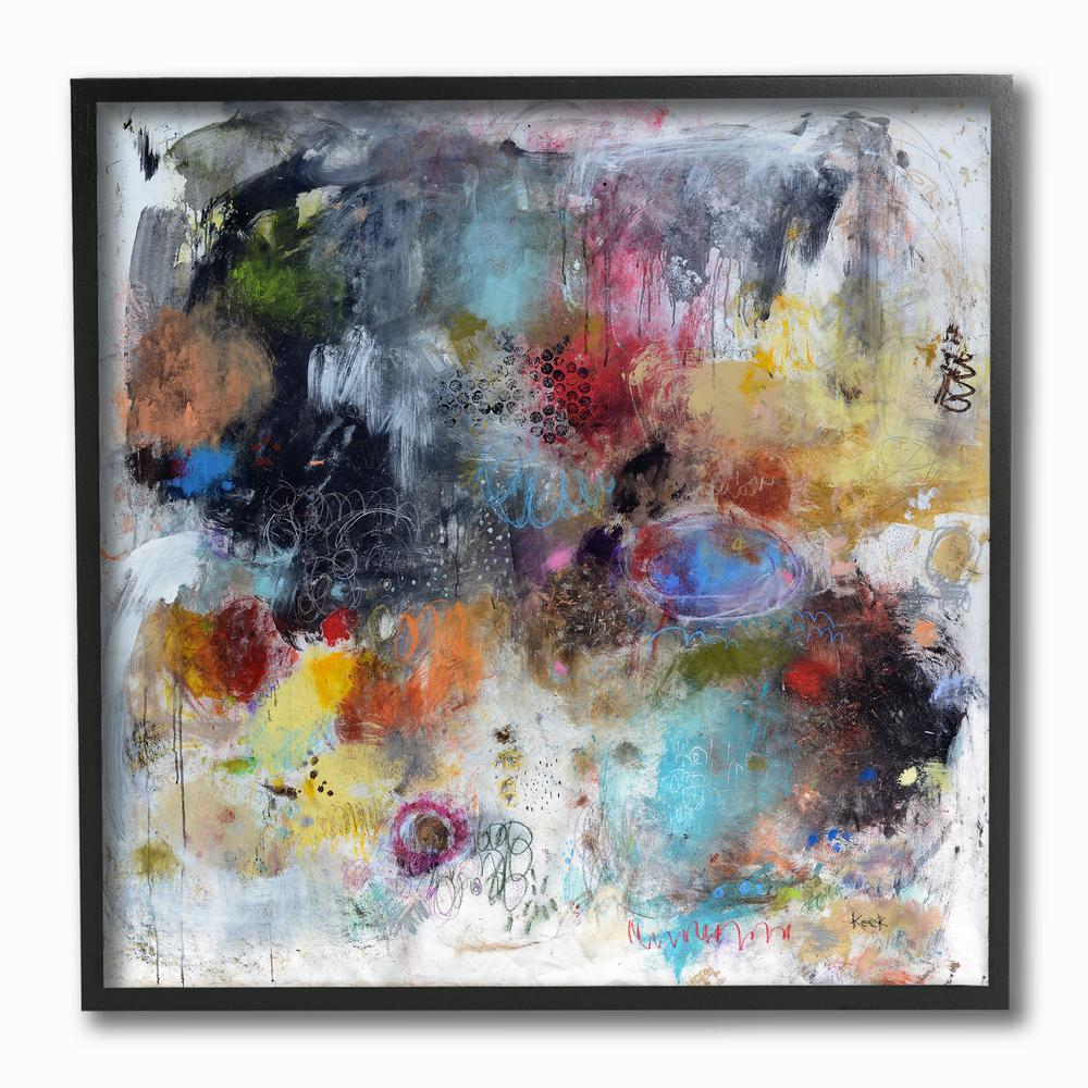 The Stupell Home Decor Collection Lines and Splashes Abstract Painting Wall Plaque Art 12 x 12 Multi-Color