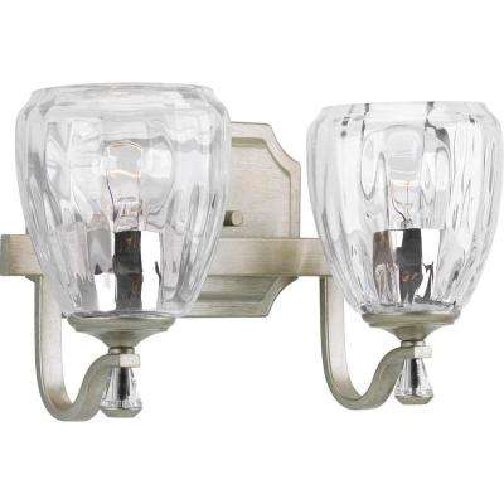 Anjoux Collection 2-Light Silver Ridge Bath Light