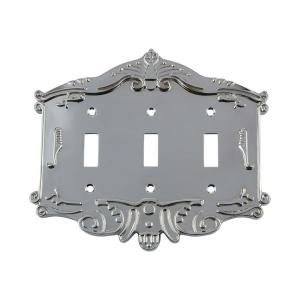 Nostalgic Warehouse Victorian Switch Plate with Triple Toggle in Bright Chrome by Nostalgic Warehouse