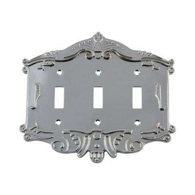 Victorian Switch Plate with Triple Toggle in Bright Chrome