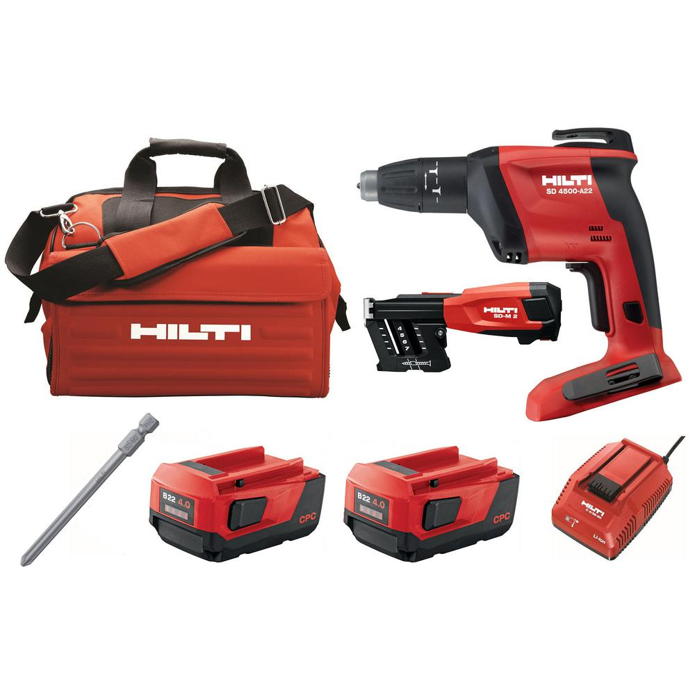 Hilti 22-Volt SD 4500 Lithium-Ion Cordless 1/4 in. Drywall Screwdriver with 4.0 Ah Batteries, Magazine, Charger, Bit and Bag