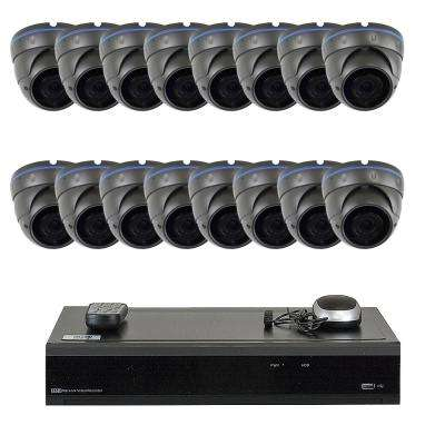 32-Channel 5-Megapixel DVR 4TB HDD Surveillance System with 16-Wired IP Cameras Vandal Proof 2.8 mm - 12 mm 75 ft. IR