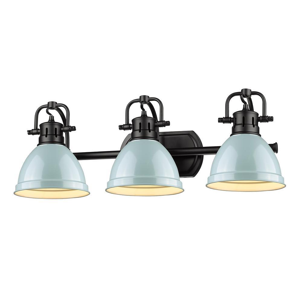 Duncan 3-Light Black Bath Light with Seafoam Shade