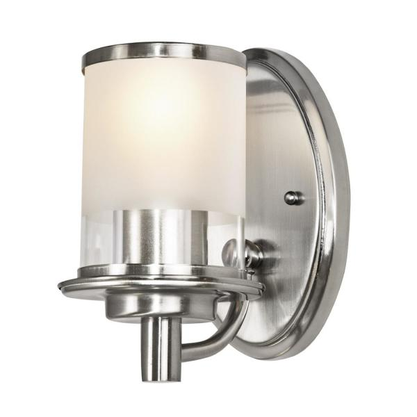 Truitt 1-Light Brushed Nickel Wall Sconce with a combination Clear and Etched Glass Shade