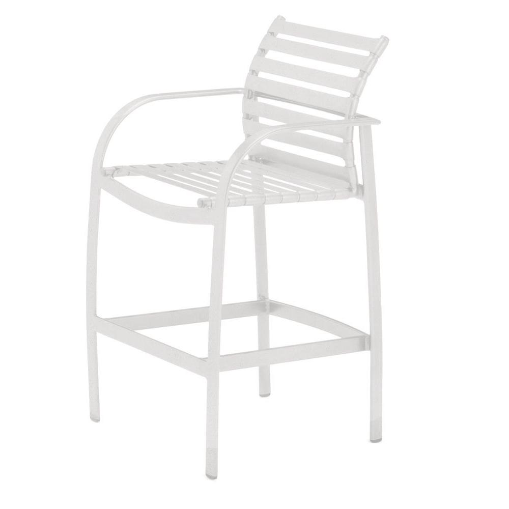 Tradewinds Scandia White Commercial Strap Patio Bar Stool