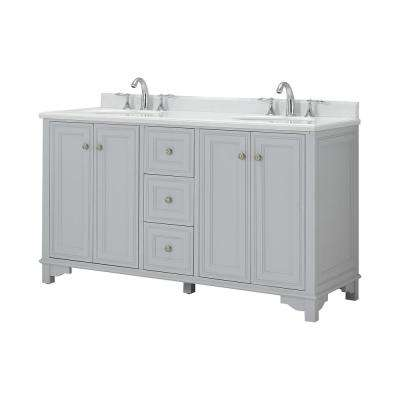 Iris 60 in. W x 22 in. D Bath Vanity in Dove Gray with Carrara Marble Vanity Top with White Basin