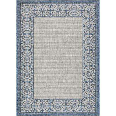 Country Side Ivory Blue 5 ft. x 7 ft. Indoor/Outdoor Area Rug
