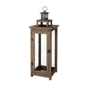 21 in. Wood and Metal Outdoor Patio Lantern