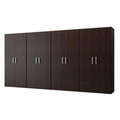 72 in. H x 144 in. W x 21 in. D Jumbo Modular Wall Mounted Garage Cabinet Complete Storage System in Espresso (4-Piece)