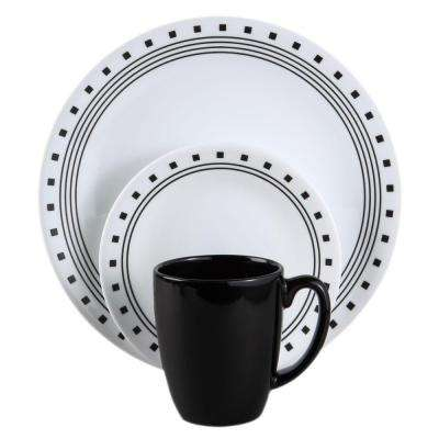 16-Piece Modern City Block Glass Dinnerware Set (Service for 4)