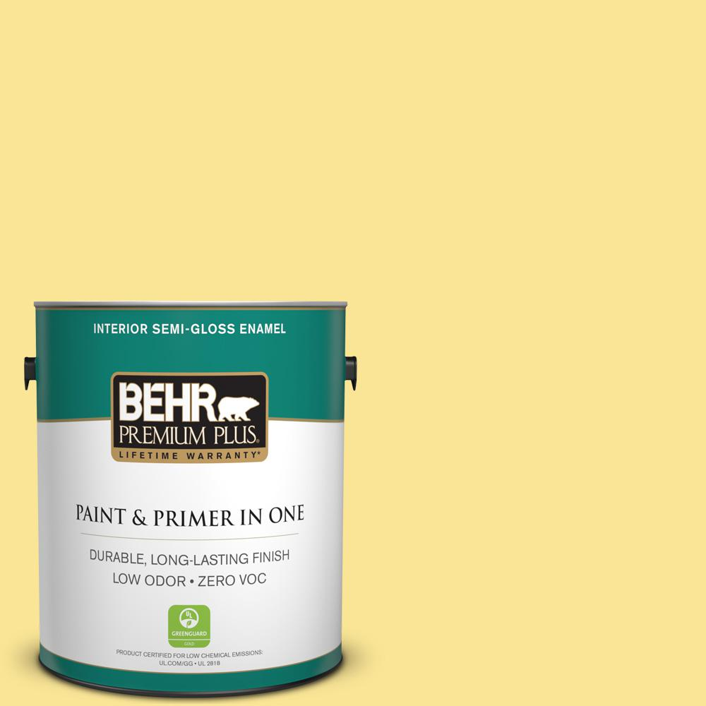 1-gal. #390B-4 Chilled Lemonade Zero VOC Semi-Gloss Enamel Interior Paint